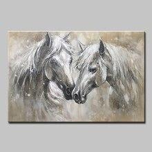 Mintura油絵キャンバス手作りの壁アートモーデン動物画像2頭の馬の絵画ポスターなしフレーム
