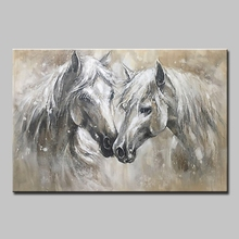 Mintura  Oil Painting on Canvas Handmade Wall Art  Morden Animal Picture Two horses  Paintings for Living Room Poster No Framed