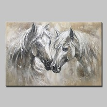 Mintura Oil Painting on Canvas Handmade Wall Art Morden Animal Picture Two horses Paintings for Living Room Poster No Framed(China)