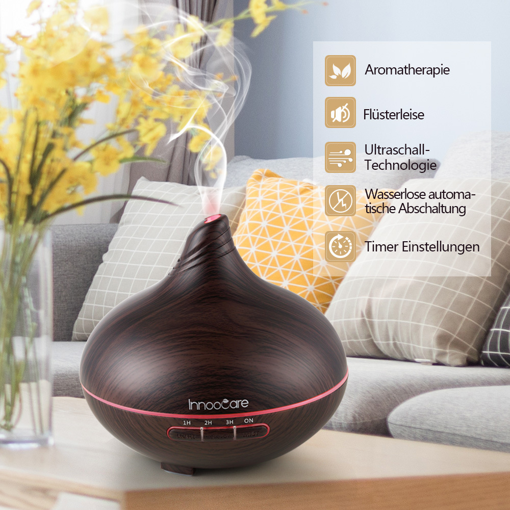 300ml Aroma Essential Oil Diffuser USB Ultrasonic Air Humidifier with Wood Grain 7 Color LED Light for Office Home in Smart Accessories from Consumer Electronics