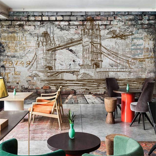 Beibehang 3D gepersonaliseerde nostalgische baksteen building cement ...