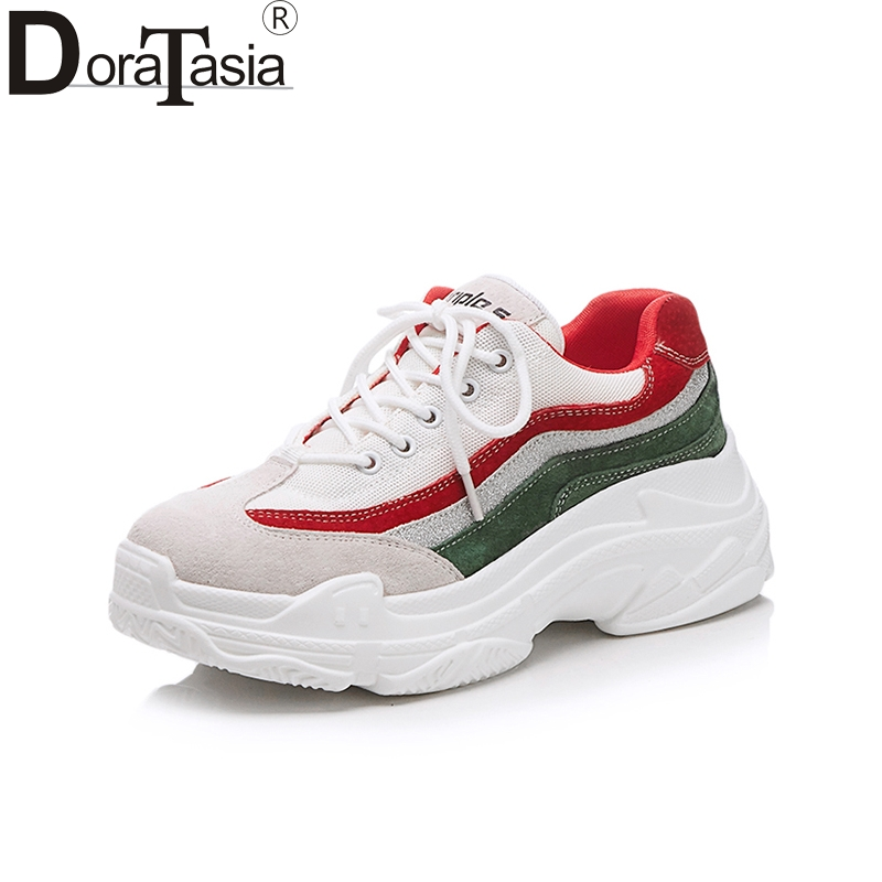 Doratasia 2018 Fashion Cow Suede Round Toe New Sneaker Spring Summer Women Shoes Lace Up Travel Shoes Woman Size 35-39