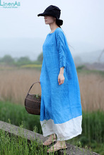 LinenAll women's dress, summer 100% ramie, small square collar, blue and white patchwork,loose one-piece dress gown female yijiu