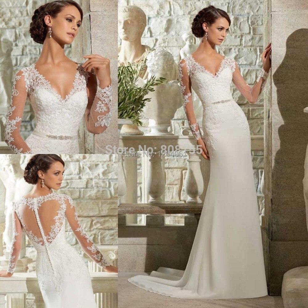 2015 New Elegant Full Long Sleeves Mermaid Wedding Dresses: Sheer Elegant Long Sleeve Wedding Dress 2015 Sexy Deep V
