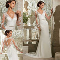 Sheer Elegant Long Sleeve Wedding Dress 2015 Sexy Deep V Neck Lace Applique Long Mermaid Wedding Gowns See Through Back DS126
