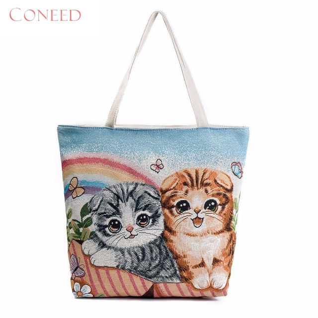 Charming Nice Coneed Best Gift Cat Printed Canvas Tote Casual Beach Bags Women Ping Bag Handbags