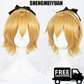 SHENGMEIYUAN Anime Re: Life in a Different World from Zero Felt Feruto Cosplay Wig 35cm Blonde Yellow Short Curly Synthetic wig