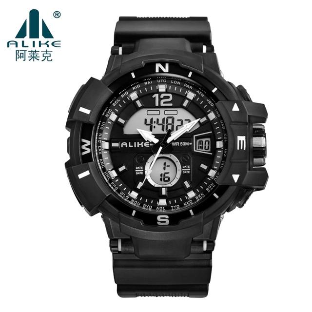2016 Brand Luxury ALIKE Watch Men s 50M Dive Swimming Sports Military LED Watches Shock Men's Analog Quartz Digital WristWatch