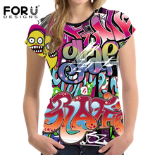 FORUDESIGNS 2017 Stylish T shirt Women Summer t-shirt Graffiti Pattern Female Hip Hop Crop Top Tshirt Women Clothes Tees Blusas