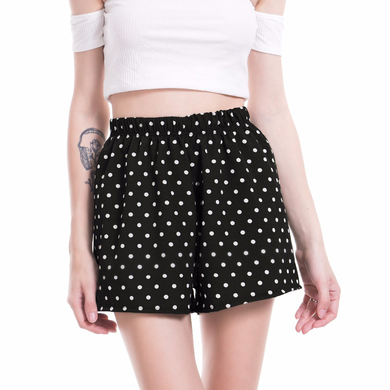VISNXGI Casual Polka Dot Tailored   Shorts   Women Summer Mid Waist Printed Wide Leg   Shorts   2018 New Fashion Lady Bottom   Shorts   Hot