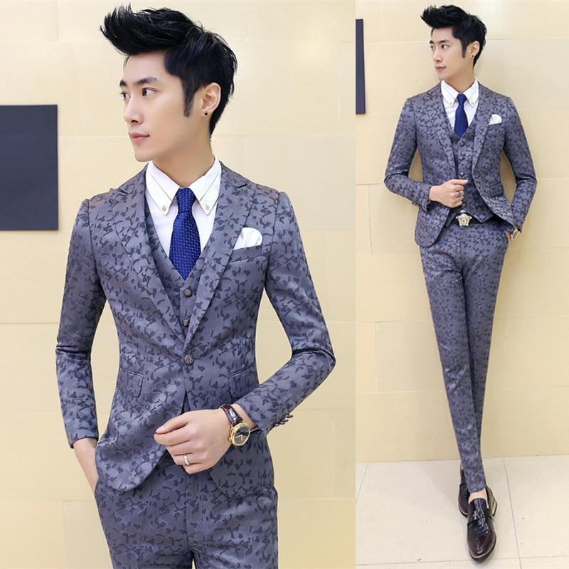 Wedding Formal Wear Suits Blazer Mens Good Quality Gray Plaid