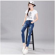 Europa Frühling Herbst neue trend dame dünne beiläufige jeans blue Denim  Bleistift Hose baumwolle zipper buttons 95a2bbc9b4