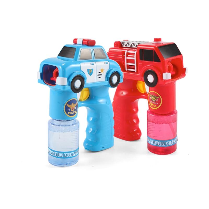 2017 New Outdoor Automatic Electric Toy Car Fire Engine Soap Blow Bubbles Gun Machine Music Light Water Gun Kids Game Bubble
