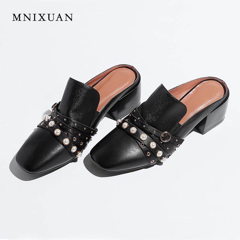 MNIXUAN Classiques chaussures pour femmes pompes mules 2019 printemps été nouveau cuir véritable perles boucle sans talon talons hauts grande size42