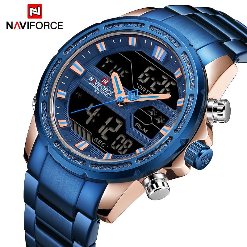 NAVIFORCE 2018 новые мужские водонепроницаемые кварцевые часы мужские модные наручные часы для спорта на открытом воздухе аналоговые светодиодн
