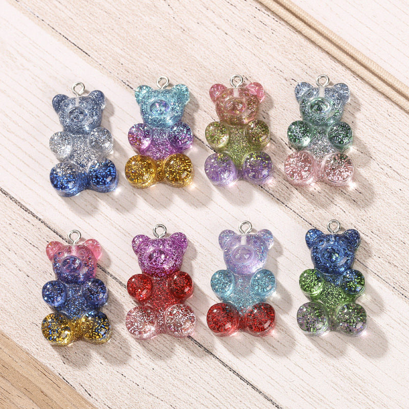 20*30mm 20pcs resin gummy bear necklace charms very cute keychain pendant necklace pendant for DIY decoration