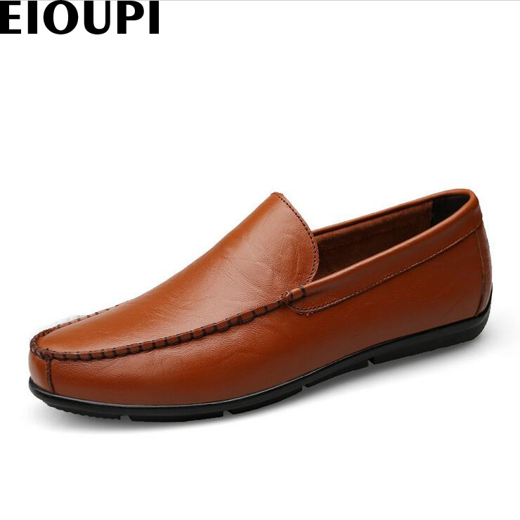 EIOUPI top quality new design genuine real leather mens fashion business casual shoe breathable men boat shoes lh305 top quality genuine real grain leather boots qshoes mens brand design business dress casual men personalized boot ym08 01