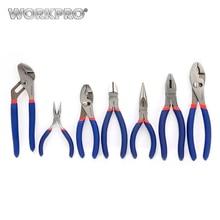 цена на WORKPRO 7PC Electrician Pliers Wire Cable Cutter Plier Set Plumbing Plier Long Nose Plier