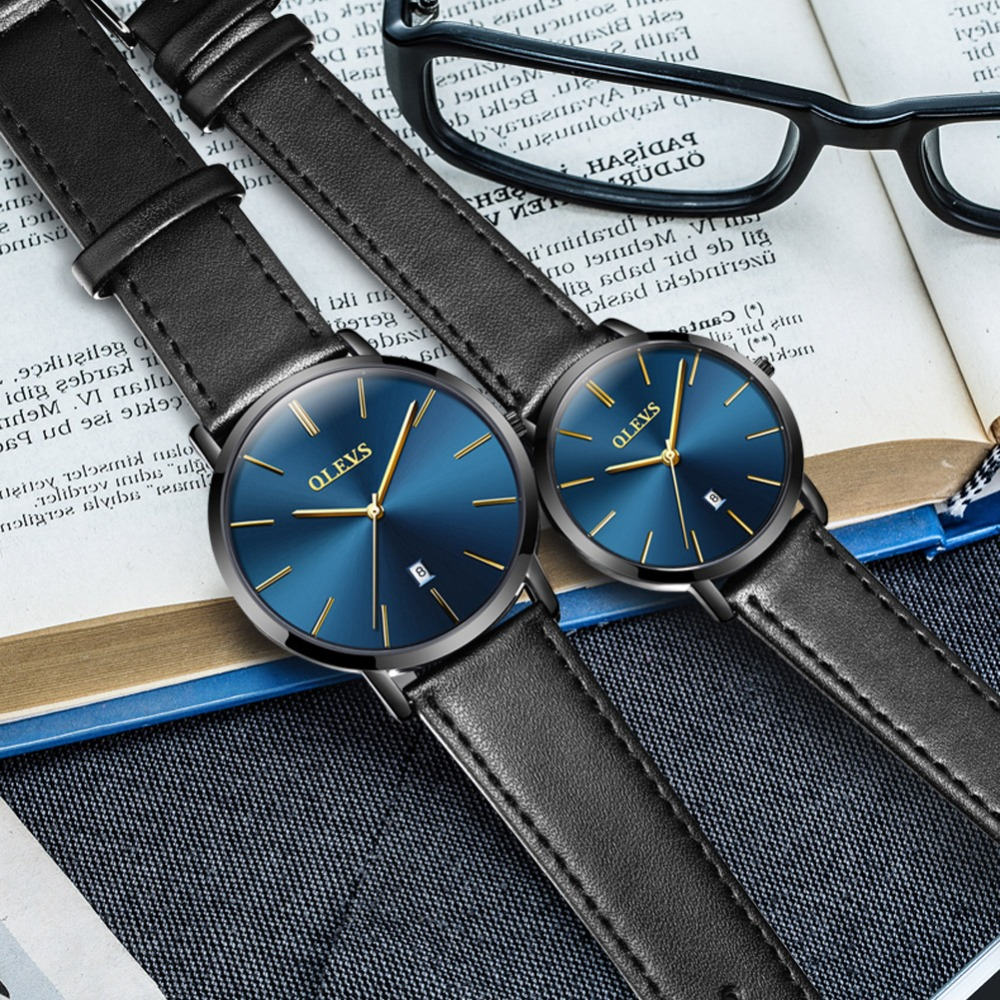 OLEVS のカップルが恋人の高級トップブランド防水カジュアルスタイル新ファッション超薄型クォーツレザー腕時計高品質  グループ上の 腕時計 からの 恋人の腕時計 の中 3