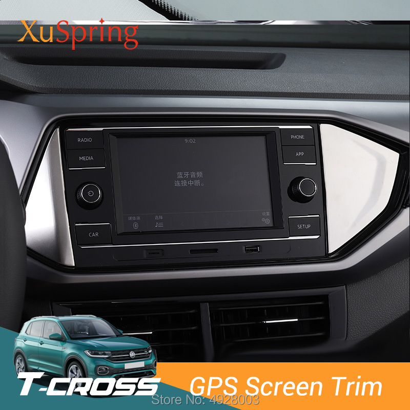 Car Interior GPS Screen Panel Side Trim Cover Stickers Garnish For Volkswagen VW T-cross Tcross 2019 2020