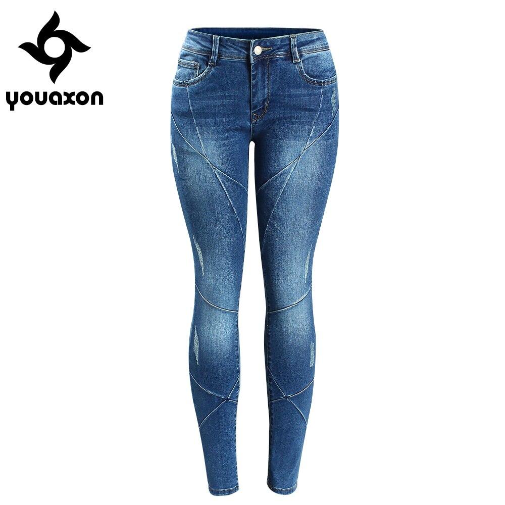 2086 youaxon Для женщин пересечения линии лоскутное плюс Размеры Фирменная Новинка середине низкой талией стрейч Узкие брюки Джинсы для женщин для Для женщин Denim Jean