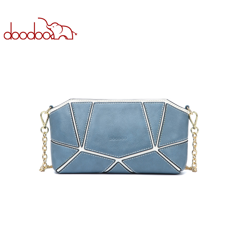 DOODOO Brand Women Bag Female Shoulder Crossbody Bags Ladies Artificial Leather 2018 Chain Geometric Design Small