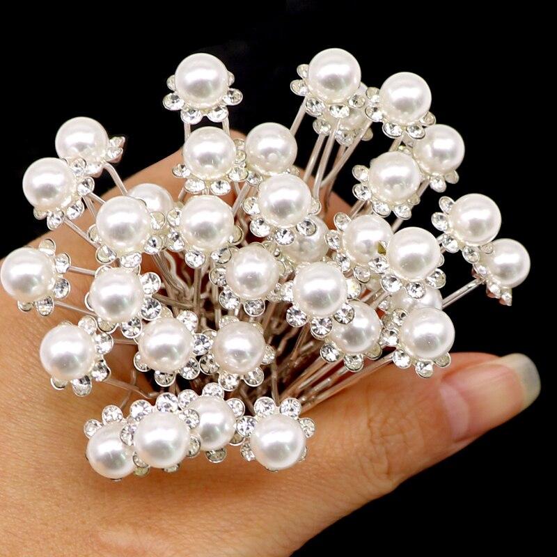 db763fc1 20 piezas de pelo caliente herramientas pernos de pelo de boda de perlas de  cristal nupcial de la flor, horquillas dama de honor Clips de pelo ...