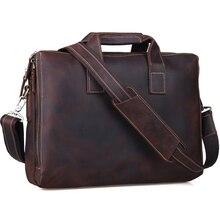 Handmade 100 Genuine Cowhide Leather Handbag Brown Business Briefcase 15 Laptop Bag Vintage Style Shoulder Bag