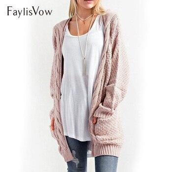 Różowy przytulny kabel sweter dziergany z długim rękawem otwórz Stitch kieszenie sweter kobiet Plus rozmiar luźne kobiece rozpinane kurtki damskie