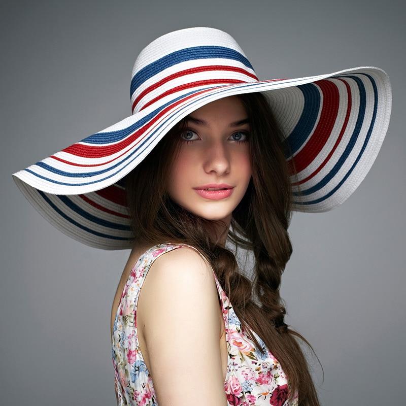 2016 Baru Lady Sun Hat Musim Panas Topi Jerami Wanita Dilipat - Aksesori pakaian - Foto 3