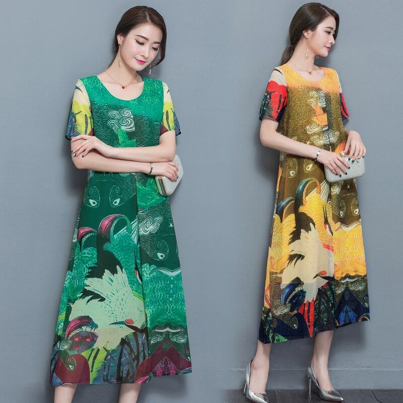 Folk custom 2018 New Summer Women Dress Temperament Printing Short Sleeves O neck Loose Long Dresses