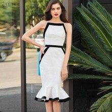 Adyce mujeres verano vendaje vestido 2018 Sexy blanco correa de espagueti sirena  vestido Vestidos Celebrity partido vestido de n. 5eb2439b35d1