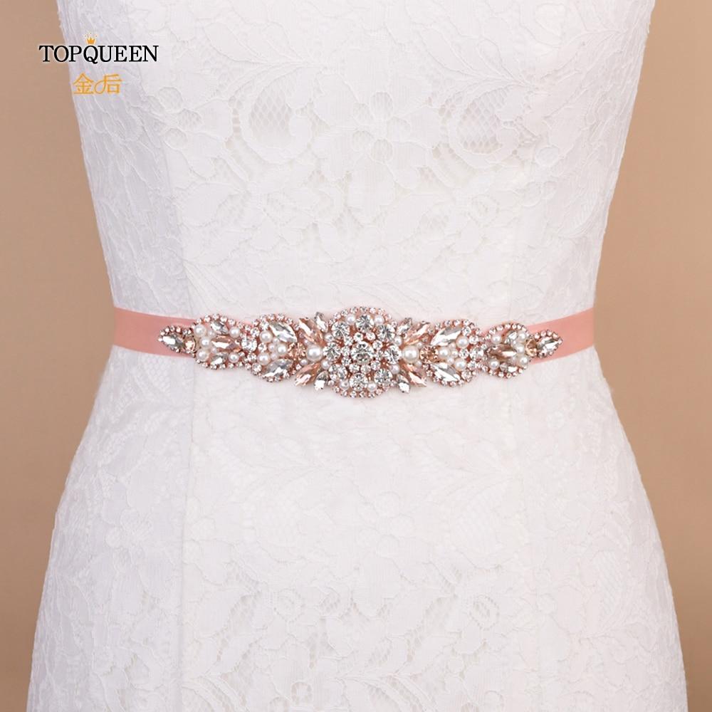 TOPQUEEN S426 Waist Beads Belt Satin Ribbon Belt Dress Rhinestone Waist Belt Women Belt From Rhinestones Shiny Belt Jewelled