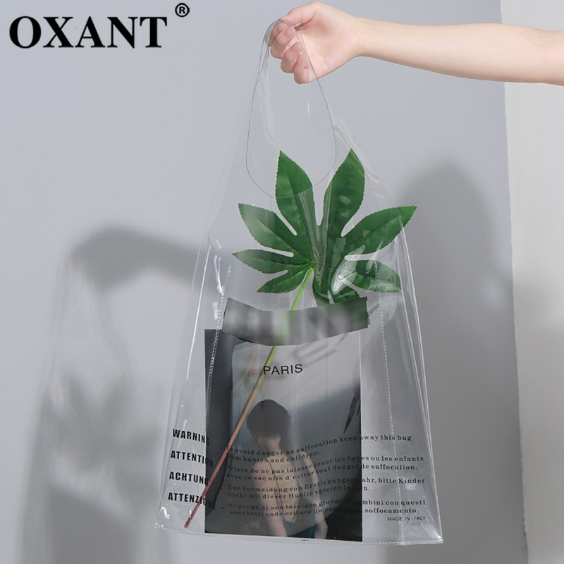 OXANT PVC Bag For Women Letter Handbag Send Wallet Shopping Fashion Decoration 2019 Summer Female Bags Colors