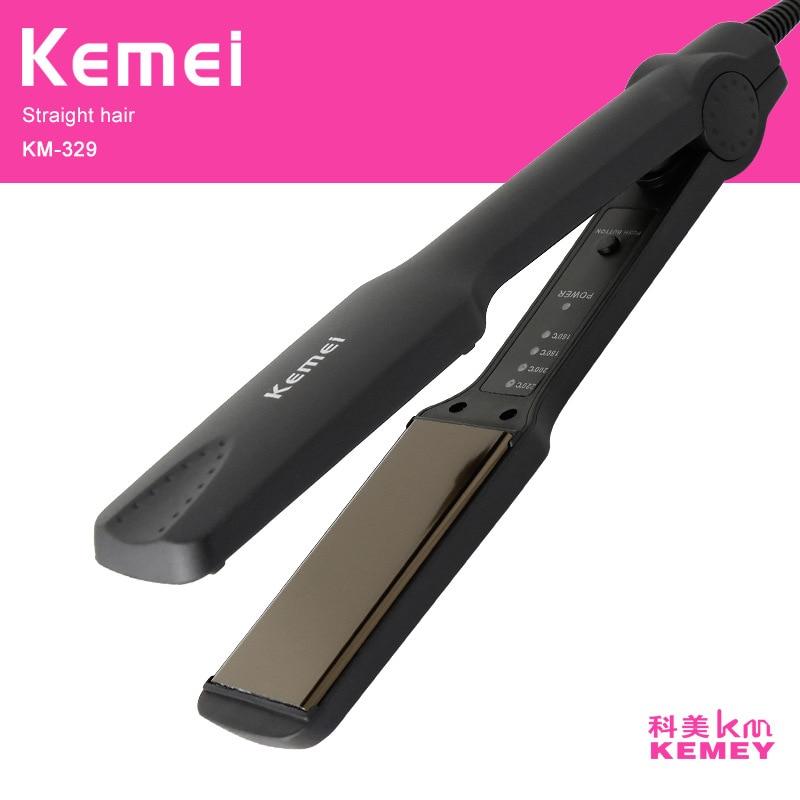 Kemei profesional plancha de pelo que endereza el hierro de cerámica curling irons styling tools iónica mujeres plancha rizador