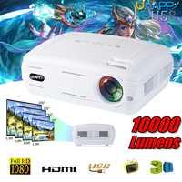 10000 люмен 1080 P 3D светодиодный домашний кинотеатр тв проектор/\ AV/VGA/HDMI Мультимедийный проектор