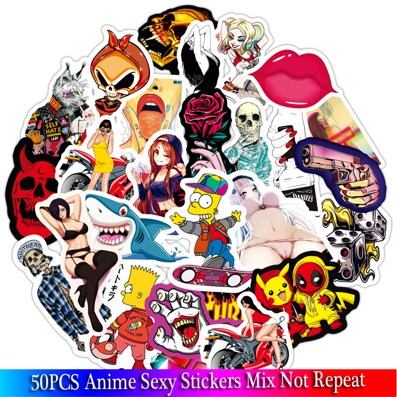 50Pcs Anime Sexy Cool Girl Stickers Sets For Motorcycle Snowboard Luggage Car Fridge Car- Styling Laptop Adult Stickers