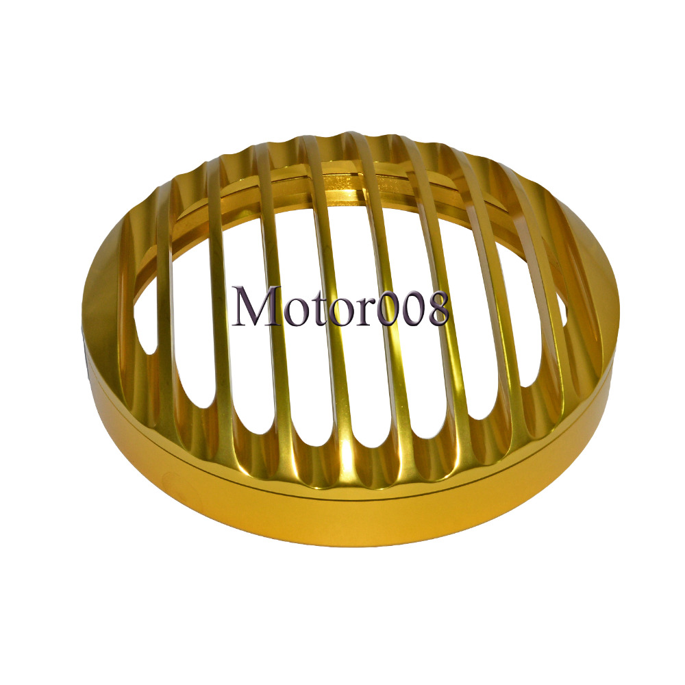 Gold 5 3/4 Aluminum Motorcycle Headlight Grill Cover For 2004 2014 Harley Sportster XL 1200 883 XL883N XL1200C