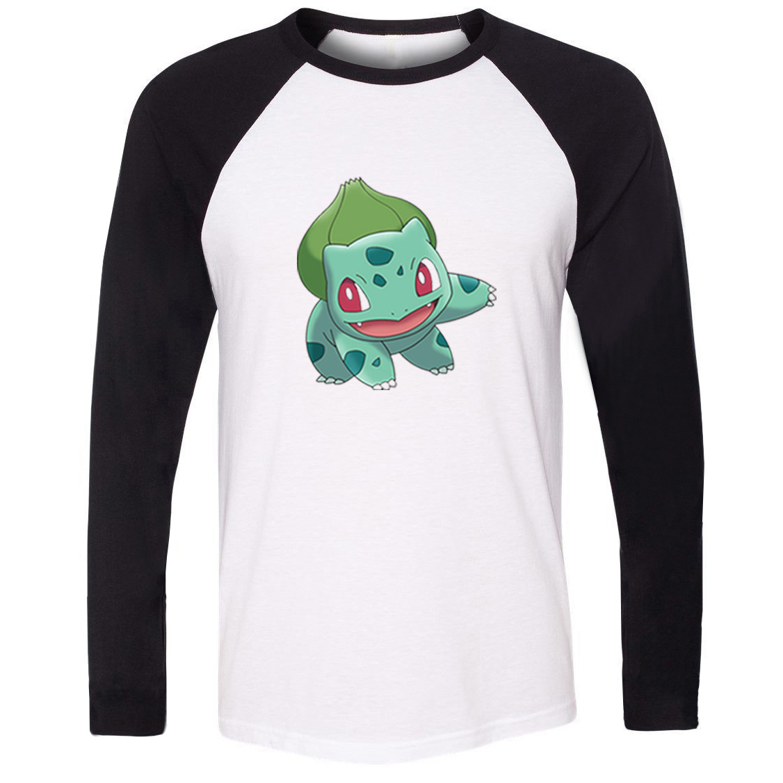 iDzn Unisex T-shirt Pokemon Grass Poison Type Bulbasaur Ivysaur Venusaur Art Pattern Long Sleeve Men T shirt Boy Casual Tee Tops image