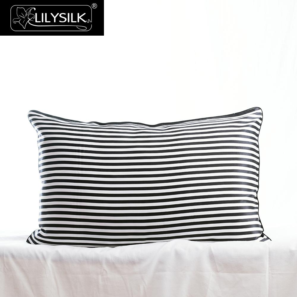 Lilysilk Silk Pillowcases Black And White Stripe 22 Momme