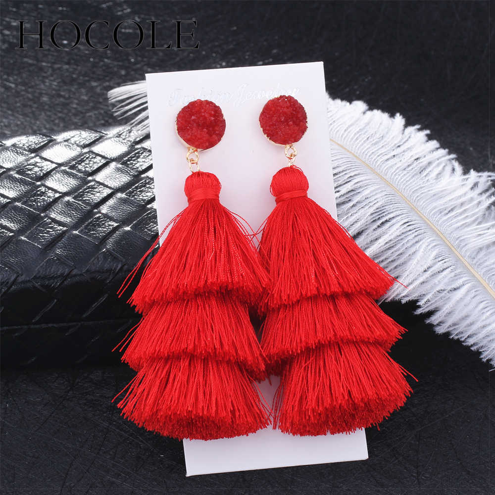 HOCOLE Boho Long Tassel Earrings Multi-layer Red Blue Yellow Silk Fabric Long Drop Earring For Women Wedding Statement Jewelry