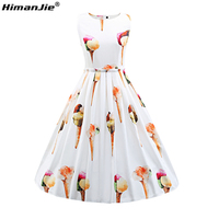 Himanjie Womens Sleeveless Summer Casual Dress Ice Cream Printed 1950s Vintage Style Rockabilly Swing Party Cute