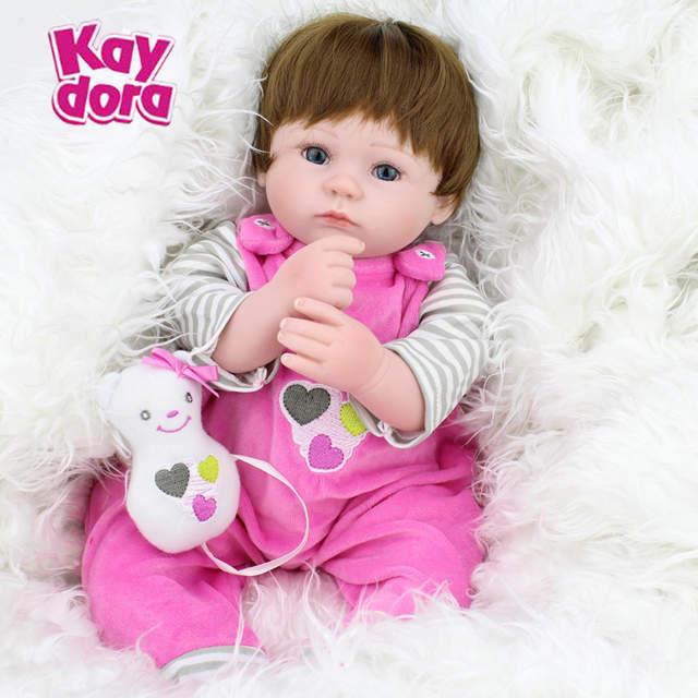 40cm 16 Inch Silicone Reborn Baby Dolls Kawaii Kids Toys Girls Blue Eyes Hair Wig Lifelike Babies Newborn Doll Christmas Gift