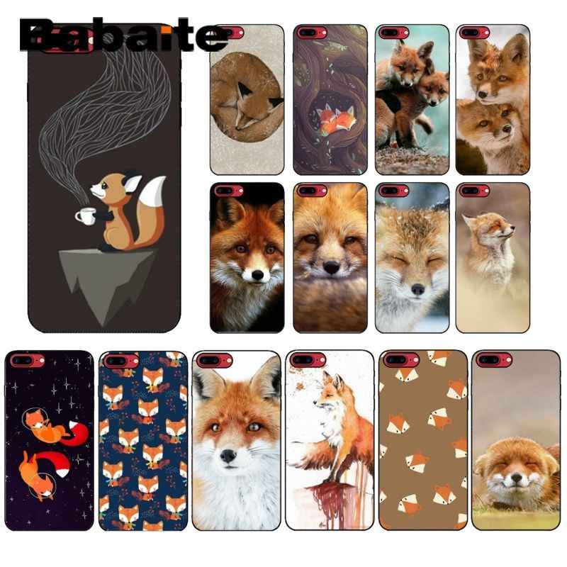 Babaite Anime fox funny foxs lovely cute Black Soft Silicone Phone Cover for iPhone X XS MAX  6 6s 7 7plus 8 8Plus 5 5S SE XR