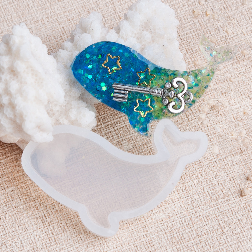 DoreenBeads Fashion Whale Animal Shape Silicone Resin Mold For Jewelry Making Craft Tool White 47mm(1 7/8