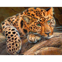 Needlework Diamond Embroidery Leopard Full Diamond Painting Rhinestone Square Drill Diy Cross Stitch Mosaic Animal Picture