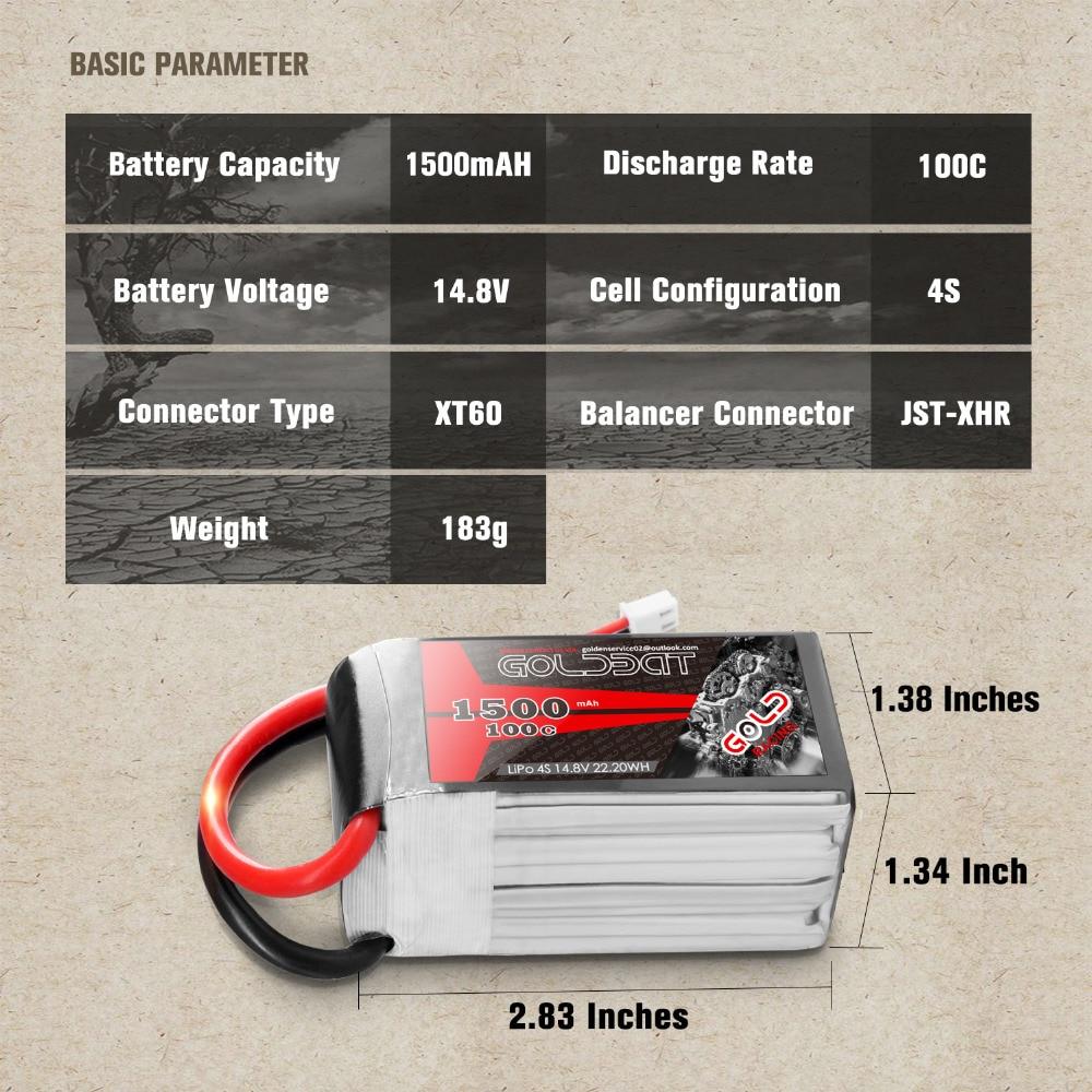 2 UNITÉS GOLDBAT 14.8 V chargeur de batterie 1500 mAh 4 S chargeur de batterie lipo 100C Pack lipo avec XT60 Plug pour RC Voiture camion Avion FPV - 3