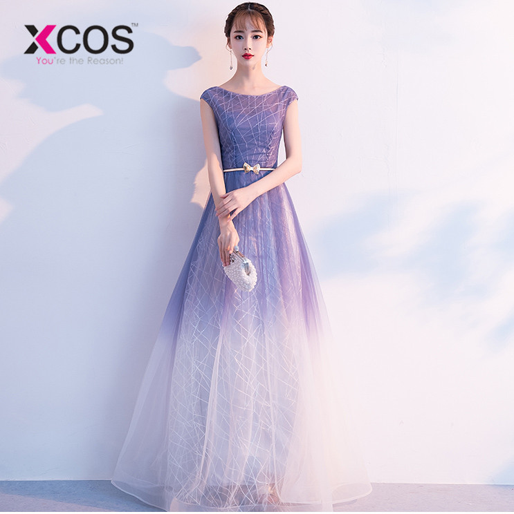 XCOS Summer Ombre   Prom     Dresses   2018 vestidos de gala Women Formal   Dress   A Line Cap Sleeve Evening Gowns with Belt