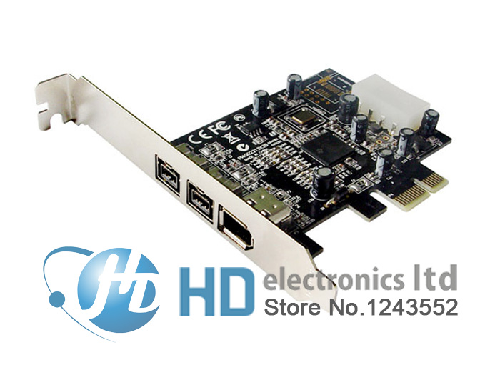 Prix pour Freeshipping PCIE Combo 2x 1394b + 1x 1394a Firewire Ports PCI-Express Contrôleur Carte 1394 carte TI Chipset 6pin câble win10