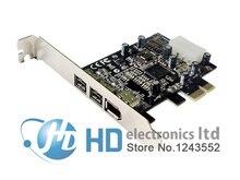 Freeshipping Porte PCIE Combo 2x 1394b + 1x 1394a Firewire PCI Express Card Controller 1394 pin della carta Chipset TI cavo win10